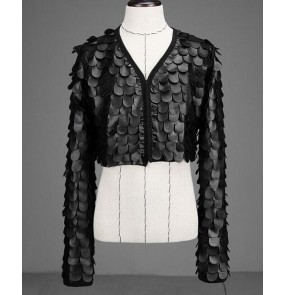 Black leather fish scales fashion men's male competition performance jazz night club punk rock dance short jackets coats