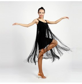 Black long fringes women's ladies female competition performance latin samba salsa cha cha dance dresses