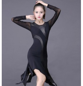 Black long sleeves female Latin Dance Dress Adult  Women Rumba Sumba Latin Tassel Dancing Skirt dresses