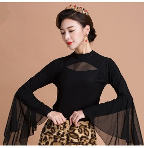 Black Long sleeves sexy fashion girls women's latin ballroom salsa dance tops