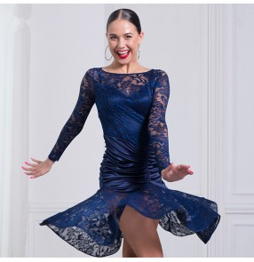 Black navy Latin dance costume sexy lace Long sleeves tassel latin dance dress for women competition latin dance costume dresses