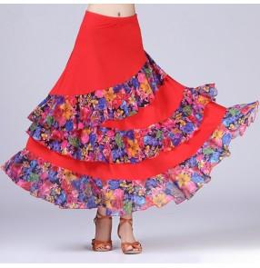 black Purple red royal blue floral Modern Dance costumes flamenco dance skirts ballroom dance skirts dance wear faldas de baile flamenco