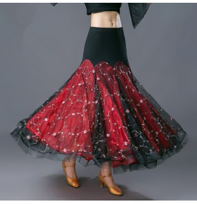 Black red embroidery pattern flowers fashion women'e female competition performance waltz tango ballroom dancing skirts