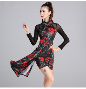 black Red flowers backless latin dance dress women latin dress dancing clothes Dancewear dress latina salsa latin dance costumes