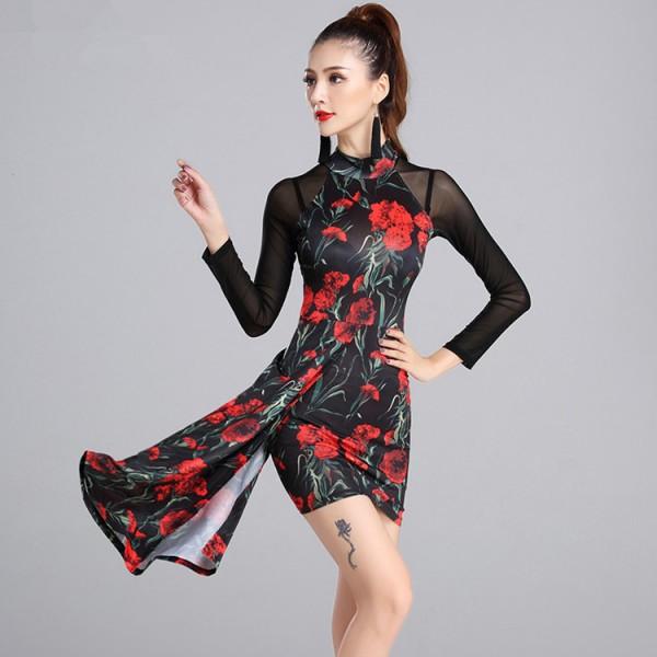 39d47bf4a8f4 black Red flowers backless latin dance dress women latin dress ...