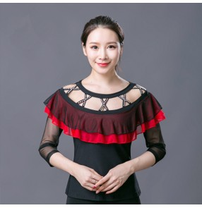 Black red patchwork rhinestones hollow front competition long sleeves women's female performance ballroom latin dance tops blouses