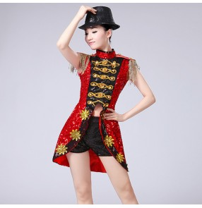 Black red patchwork sequined girls women's performance modern dance tuxedo tops hip hop jazz dance costumes outfits