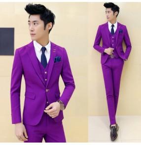Black red purple yellow orange green Groomsman Notch Lapel Groom Candy colors Men Suits Wedding singers dancers  jazz Best Man Blazer (Jacket+Pants+Vest)