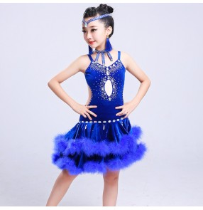 Black red royal blue white velvet fur backless competition rhinestones performance latin salsa cha cha dance dresses outfits