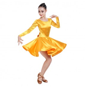 Black red turquoise yellow gold spandex satin girl's kids children stage performance competition ballroom latin dance dresses