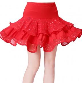 Black red women lady sequins Square dance dance skirt black body skirt skirt pull rope safety pants Latin dance skirt