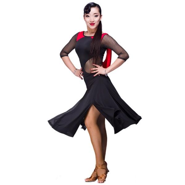 black red yellow leopard see through back latin dance dress fringe women  long sleeves latin dress dancing Dancewear dress latina salsa latin dance