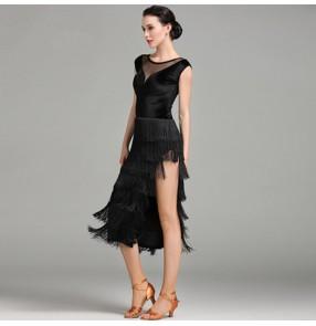 Black robe latine latine fringe women latin dance dress dancing clothes Dancewear dress latina salsa latin dance costumes