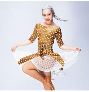 black robe latine women salsa rumba cha cha dance costumes vestido latino women velvet latin dance dress Dancewear