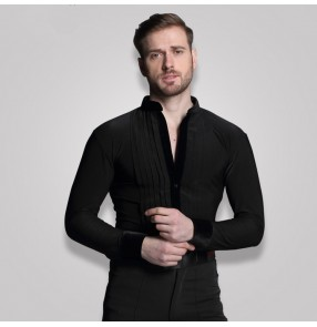 Black royal blue white Stage Competition Performance  Shirt Long Sleeve Ballroom Dance Costumes Men leotards Shirt Latin Modern Dance Clothing