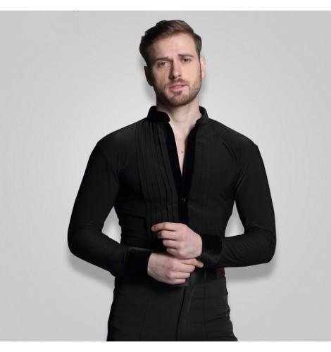 5be7e5f83 Black royal blue white Stage Competition Performance Shirt Long Sleeve  Ballroom Dance Costumes Men leotards Shirt Latin Modern Dance Clothing