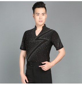 Black short sleeves rhinestones Waltz Latin Dance Top Men Latin Dance Shirts Men Ballroom Dance Shirts tops