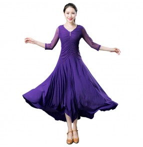 Black violet long mesh sleeves competition back with lace competition gymnastics women's girls ballroom tango waltz dance dresses