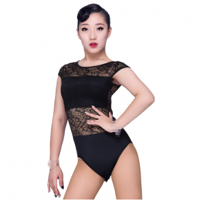 Black white mint lace backless women's ladies female backless competition gymnastics performance latin body leotards dance tops bodysuits