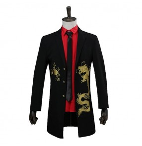Black with gold dragon pattern men's competition stage performance cosplay rehearsal singers host groomsman singers dance tops long jackets