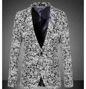 Blazer light gray Men wool Autumn men's singers dancers jazz dance coats Lapel Collar Male Blazers Slim Fit Mens Blazer Jacket Plus Size