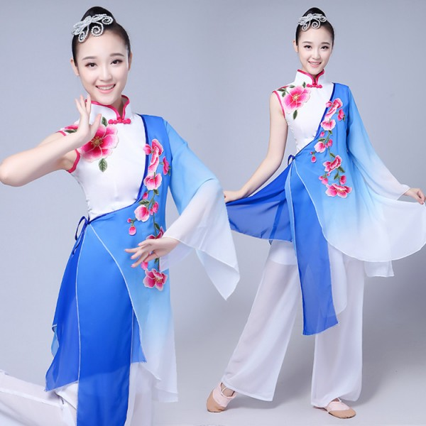 Blue gradient Traditional Chinese Clothing Women Ancient Chinese Style Costume  Chinese Yangko Folk Dance Costume Fan Dance Costumes 24693db97