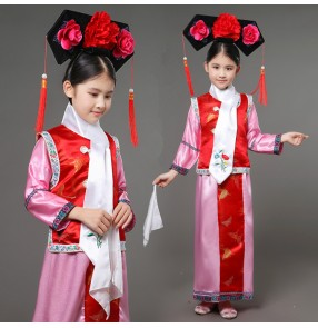 Blue pink Embroidery girl Qing Dynasty Princess film drama photos cosplay Costume children Hanfu ancient court dress for cosplay stage performance outfits