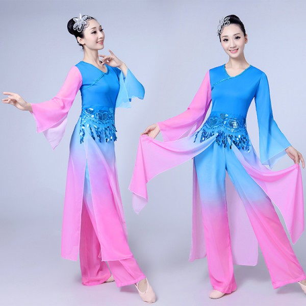 0a7fbf0eb Blue pink gradient traditional Chinese dance costumes women long ...