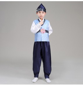 Boy Korea Traditional Costume Child  Korean Hanbok Clothing Kids party film cosplay outfits with Hat For Stage Performance Dance Clothing