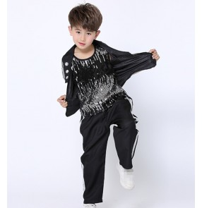 Boys black Sequin Modern Jazz Hip Hop Dance Competition Costumes Set Tops Shorts Pants Dancing Clothing Clothes Rehearsal Outfits