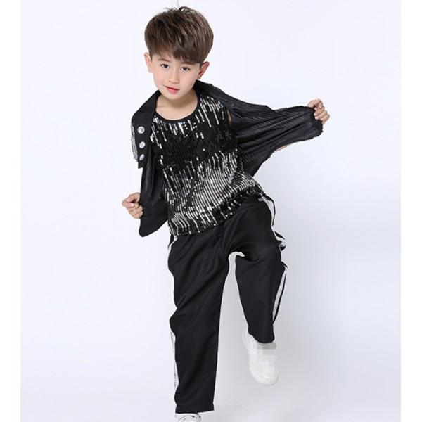 Boys black Sequin Modern Jazz Hip Hop Dance Competition Costumes Set Tops Shorts Pants Dancing ...