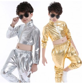 Boys children kids Silver gold leather party show school competition hip hop jazz singers drummer stage performance cosplay dance outfits costumes