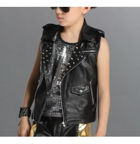 Boys performance competition ds Black rivet Motorcycle jazz dance singers dancers Waistcoat Black Leather Sleeveless Biker Jacket vest