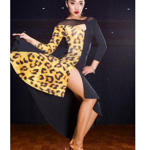 Brown printed black short sleeves velvet patchwork women's ladies female competition performance latin salsa samba dance dresses outfits