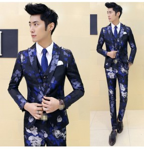 casual jacket blazer Blue gold red flowers singer dancer show male DS dance costumes outerwear coat DJ jazz nightclub performance stage prom