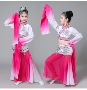 Child Classical Chinese Dance Costume kids fuchsia gradient Yangko Dance Costume Girls Umbrella Dance Clothing Chinese Folk Dance Clothes