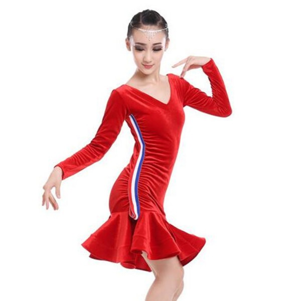 105acffc59b2 child dance girls velvet striped long sleeves latino dancing dresses ...
