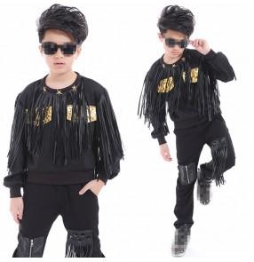 children boy long sleeve drummer school performance black fringes Hip Hop hiphop DS Jazz Dance Costumes pants sweatshirt set