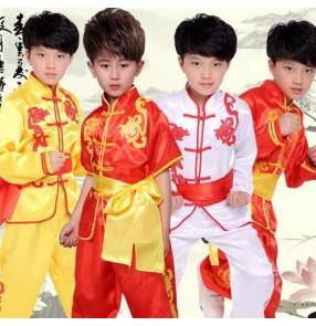 Children Boy Taekwondo Dobok Wushu Costume Kimono Judo clothing Chinese Kung Fu Suit Tai Chi Clothing Martial Art Uniform