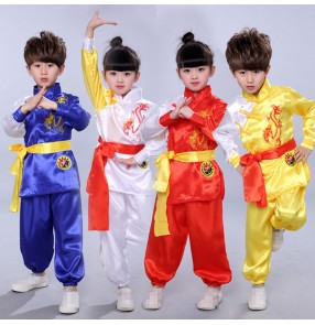 Children girl Taekwondo Dobok Wushu Costume Kimono Judo clothing Chinese Kung Fu Suit Tai Chi Clothing Martial Art Uniform