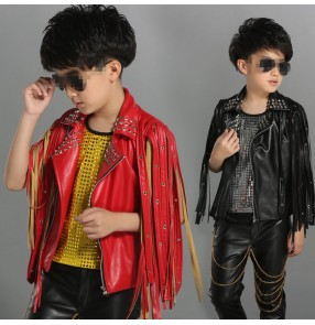 Children PU leather fringes performance clothing rivet vest performance children's hiphop drummer show  jazz dance waistcoats tops
