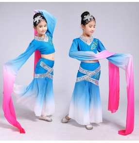 Children's classical dance girl traditional Chinese folk dance dresses film performance fairy cosplay clothing Chinese fan dance oriental dance costumes