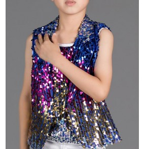 Children's rainbow colored sequined clothing Boys students performing Kids hip-hop jazz dance sequined waistcoat vest Dance wear costumes