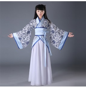 Chinese blue and white porcelain pattern ancient traditional performance costumes girls hanfu child clothing drama cosplay party dresses dance Tang Dynasty costumes