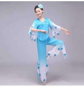 Chinese dance Costume for women fairy Yangko suit hanfu dress costume fairies chiffon skirt Chinese folk dance costumes