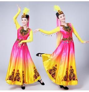 Chinese Folk Dance Costume Ancient Traditional National Minority Xin Jiang Stage Dance Dress Xinjiang Clothing For Women