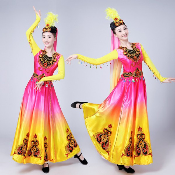 3152c8978e43 Chinese Folk Dance Costume Ancient Traditional National Minority Xin Jiang Stage  Dance Dress Xinjiang Clothing For Women