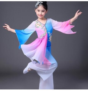 classical Girls traditional Chinese folk yangko fairy dance dance costumes for children kids girls china national ancient dress costume