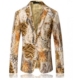 Costume tiger print fashion Print Blazer Jacket jazz Groomsmen Wedding Blazers Slim Fit Evening Party Dress Suit Blazer Masculino