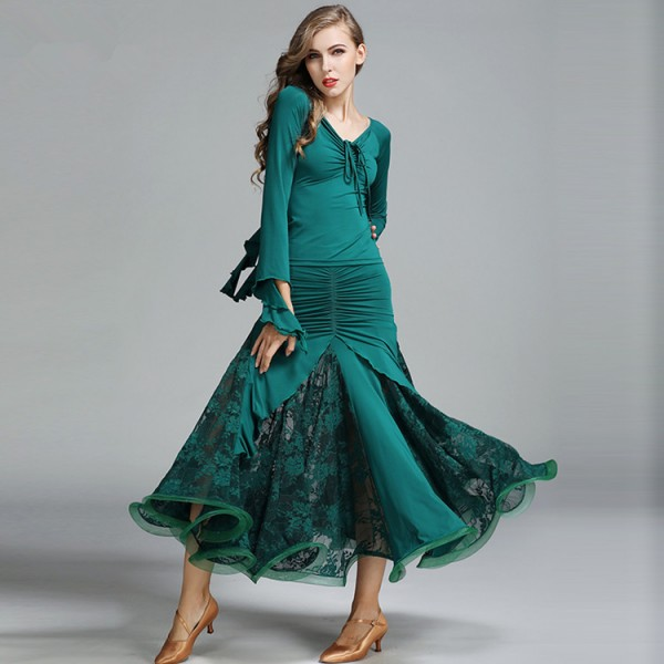 315b978c77766 Dark green black wine Ballroom Dance Dresses Standard Stage Costume  Performance Women's Smooth Ballroom Dress Modern Waltz Tango